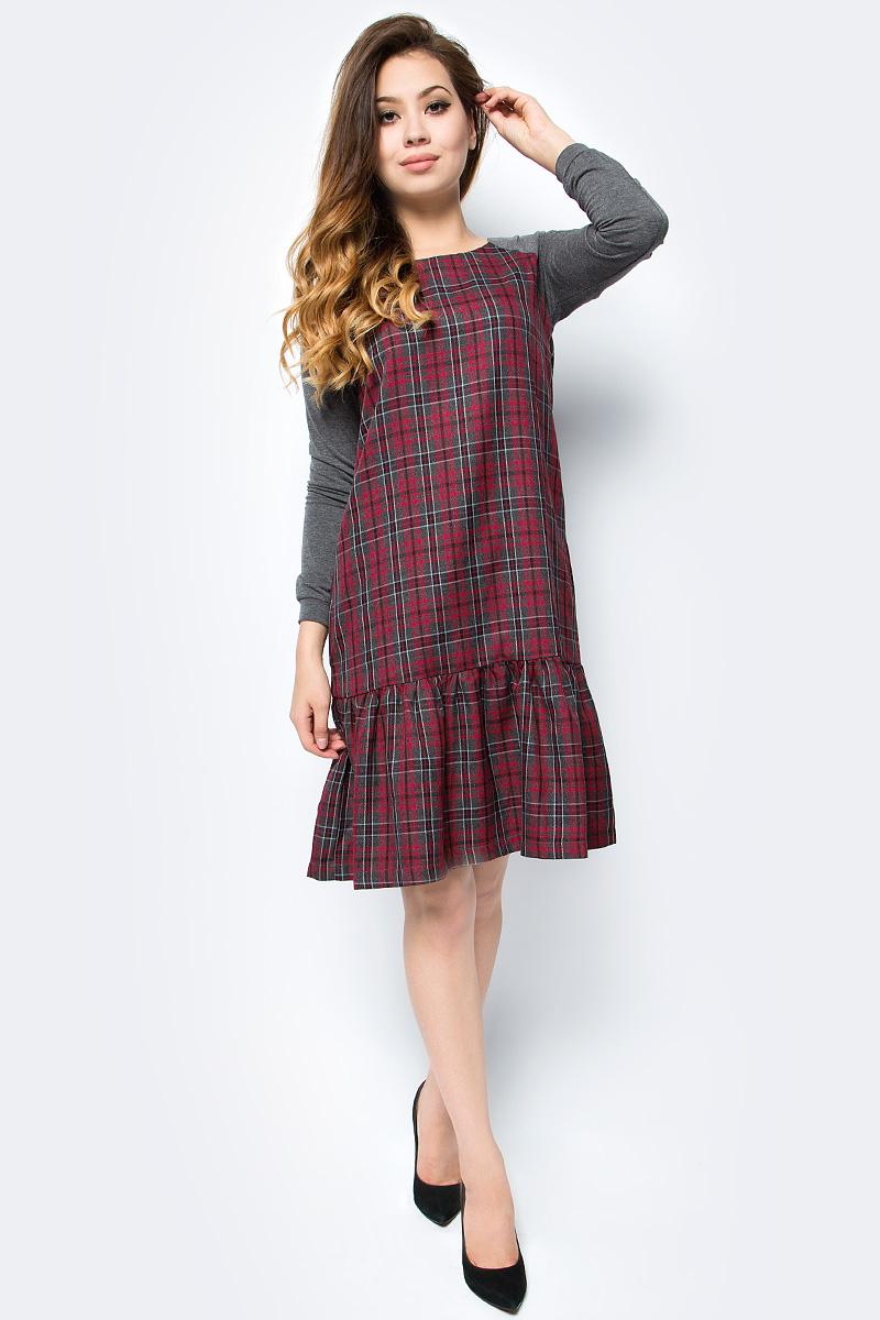 Платье женское La Via Estelar, цвет: серый. 14007-1. Размер 48 платье la via estelar цвет фиолетовый 14672 2 размер 48