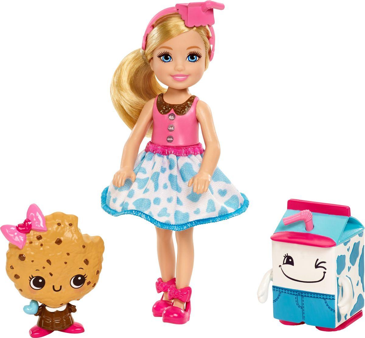 Barbie Кукла Челси и сладости цвет платья голубой розовый barbie мини кукла челси с молоком и печеньем