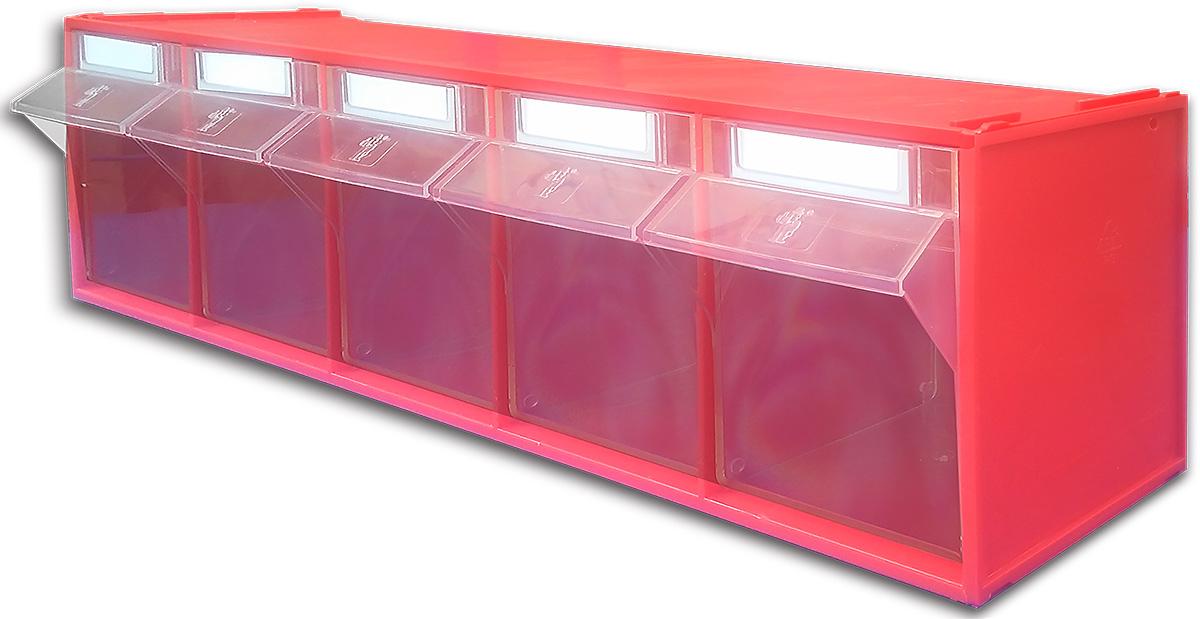 Короб откидной Стелла FOX-103, цвет: красный, прозрачный, 5 ячеек, 60 х 13,5 х 16,4 смFOX-103Короб серии FOX-3 предназначен для хранения мелкоштучных изделий.Габаритные размеры (Д х Ш х В): 600 х 135 х 164 мм. Короб серии FOX-3 представляет собой кассету длиной 600 мм с пятью откидными коробами. Размер откидного короба 106 х 98 х 147/107 мм (Ш х Г х В).Стандартный цвет наружной кассеты – красный, откидной короб – прозрачный.При необходимости прозрачный короб можно извлечь из кассеты. Прозрачный внутренний короб изготовлен из полистирола с добавлением специальных эластичных добавок, что позволяет коробу избежать хрупкости и значительно увеличить несущие нагрузки.Универсальная наружная кассета длиной 600 мм позволяет комбинировать короба серии FOX разных размеров в специальные системы хранения, которые могут быть настольными, настенными, напольными, передвижными и на основе закрытых шкафов.