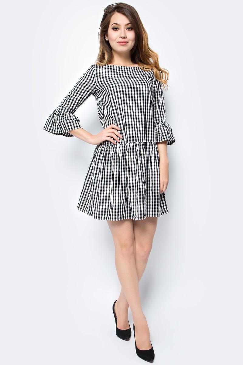 Платье Tom Tailor, цвет: белый, черный. 5055008.00.71_1008. Размер L (48)5055008.00.71_1008Женское платье Tom Tailor выполнено из высококачественного материала. Модель с круглым вырезом горловины сзади застегивается на пуговицы.