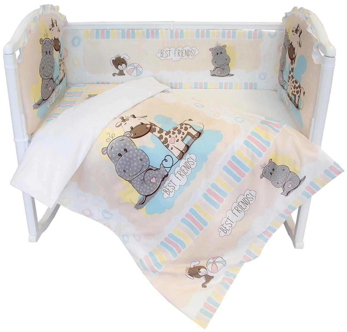 Baby Nice Комплект в кроватку Лучшие друзья 6 предметов цвет бежевыйH3/2Комплект в кроватку для самых маленьких должен быть изготовлен только из самой качественной ткани, самой безопасной и гигиеничной, самой экологичной и гипоаллергенной. Отлично подходит для кроваток малышей, которые часто двигаются во сне. Хлопковое волокно прекрасно переносит стирку, быстро сохнет и не требует особого ухода, не линяет и не вытягивается. Ткань прошла специальную обработку по умягчению, что сделало ее невероятно мягкой и приятной к телу.