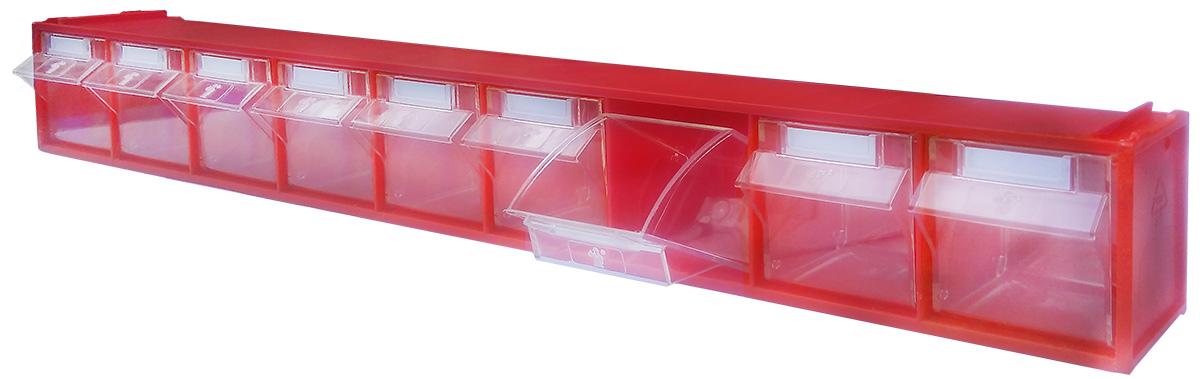 Короб откидной Стелла FOX-101, цвет: красный, прозрачный, 9 ячеек, 60 х 6,8 х 7,6 смFOX-101Короб серии FOX-1 предназначен для хранения мелкоштучных изделий. Габаритные размеры (Д х Ш х В): 600 х 68 х 76 мм.Короб серии FOX-1 представляет собой кассету длиной 600 мм с девятью откидными коробами. Размер откидного короба 56 х 42 х 64/48 мм (ШхДхВ).Стандартный цвет наружной кассеты – красный, откидной короб – прозрачный.При необходимости прозрачный короб можно извлечь из кассеты. Прозрачный внутренний короб изготовлен из полистирола с добавлением специальных эластичных добавок, что позволяет коробу избежать хрупкости и значительно увеличить несущие нагрузки. Универсальная наружная кассета длиной 600 мм позволяет комбинировать короба серии FOX разных размеров в специальные системы хранения, которые могут быть настольными, настенными, напольными, передвижными и на основе закрытых шкафов.