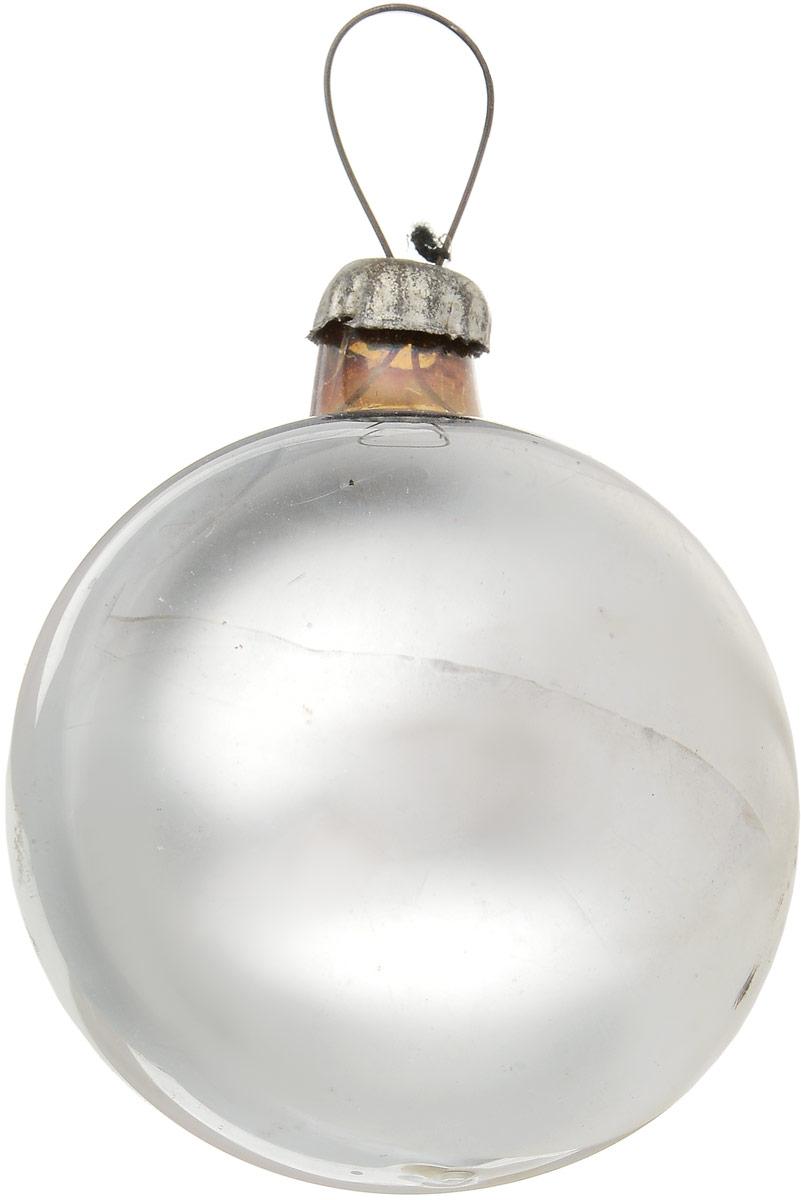 Елочная игрушка Серебристый шар. Стекло, роспись. СССР, 1960-е годы