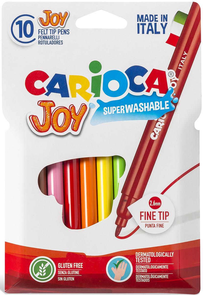 Carioca Joy Набор фломастеров 10 цветов40528/10Набор Carioca Joy состоит из 10 разноцветных фломастеров, которые отлично подойдут и для школьных занятий, и просто для рисования.Фломастеры рисуют яркими насыщенными цветами. Чернила на водной основе легко смываются с кожи и отстирываются с большинства тканей. Корпус фломастеров изготовлен из полипропилена, а колпачок имеет специальные прорези, что обеспечивает вентилирование и еще больше увеличивает срок службы чернил и предотвращает их преждевременное высыхание. Характеристики: Длина фломастера: 14 см. Размер упаковки:12 см х 18 см х 1 см.