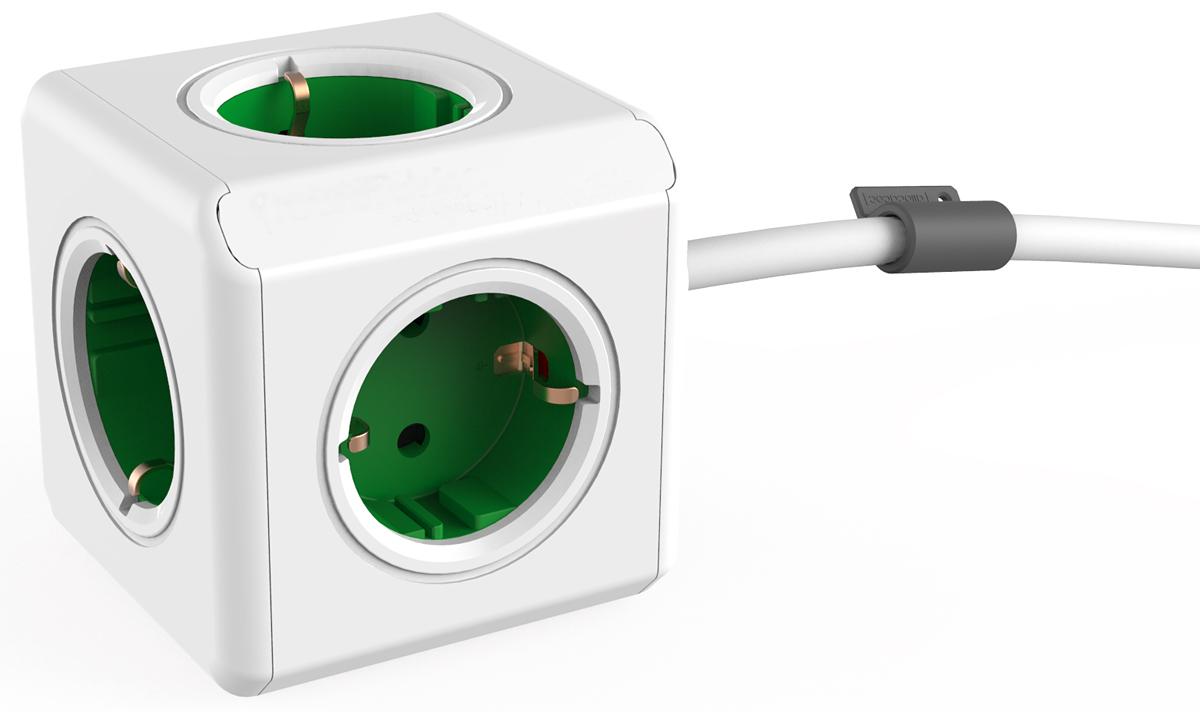 Allocacoc Extended, Green сетевой разветвитель1300GN/DEEXPCAllocacoc Extended - сетевой разветвитель со стильным дизайном, который включает в себя кабель и пять розеток. Данная версия, оснащенная креплением, может быть установлена в любом месте: на столе, на стене, под столешницей и т.д.
