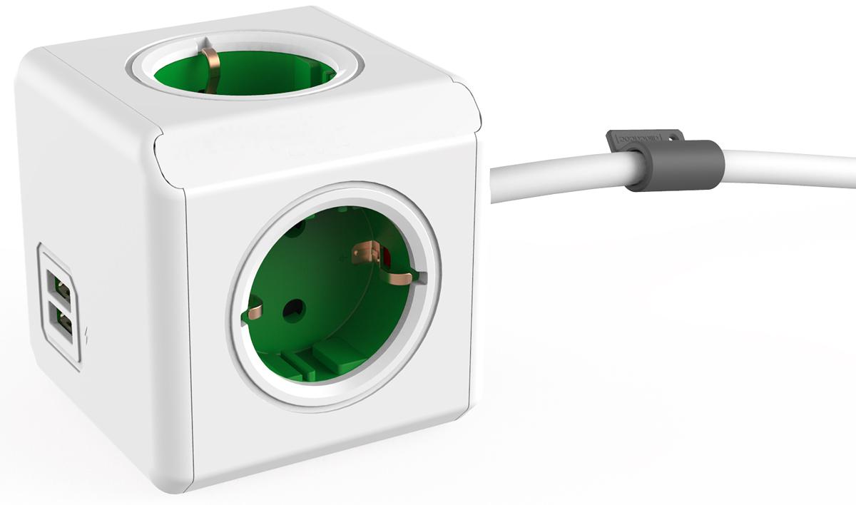 Allocacoc Extended USB, Green сетевой разветвитель1402GN/DEEUPCРазветвитель Allocacoc Extended USB, оснащенный 1,5-метровым шнуром, можно установить любом месте. Расположив розетку в пределах досягаемости, больше нет необходимости лезть под стол, чтобы подключить ваш ноутбук! Этот разветвитель имеет USB-порт, что позволяет заряжать широкий спектр устройств.Находясь в офисе, дома, на совещании или еще где-нибудь, бывает трудно найти свободную розетку для зарядки ноутбука или мобильного телефона. Allocacoc Extended USB решил эту проблему: количество розеток можно расширить, что позволит монтировать индивидуальный источник питания в пределах досягаемости.