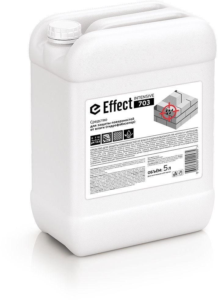 Средство Effect, для защиты поверхностей от влаги, 5 л13730Концентрированное средство Effect предназначено для защиты и гидрофобизации бытовых внутренних и наружных поверхностей. Препятствует проникновению влаги в стены, полы, швы внутри и снаружи конструкции. Подходит для обработки плитки для пола, черепицы, кирпича, бетонных и газобетонных блоков, брусчатки, натурального камня, песчаника, гипса и художественных изделий из глины. Состав: > 30 % силикат; Товар сертифицирован.Как выбрать качественную бытовую химию, безопасную для природы и людей. Статья OZON Гид