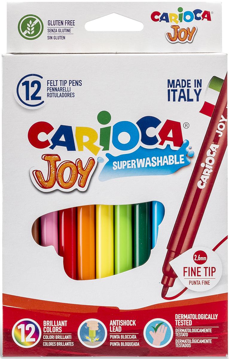 Carioca Набор фломастеров Joy 12 цветов40614/12Набор Carioca Joy состоит из 12 суперсмываемых разноцветных фломастеров, которые отлично подойдут и для школьных занятий, и просто для рисования.Чернила на водной основе легко смываются с кожи и отстирываются с большинства тканей. Фломастеры рисуют яркими насыщенными цветами.Корпус фломастеров изготовлен из прочного материала, а колпачок имеет специальные прорези, что обеспечивает вентилирование и еще больше увеличивает срок службы чернил и предотвращает их преждевременное высыхание.Рекомендуемый возраст от 3-х лет.Уважаемые клиенты! Обращаем ваше внимание на то, что упаковка может иметь несколько видов дизайна. Поставка осуществляется в зависимости от наличия на складе.