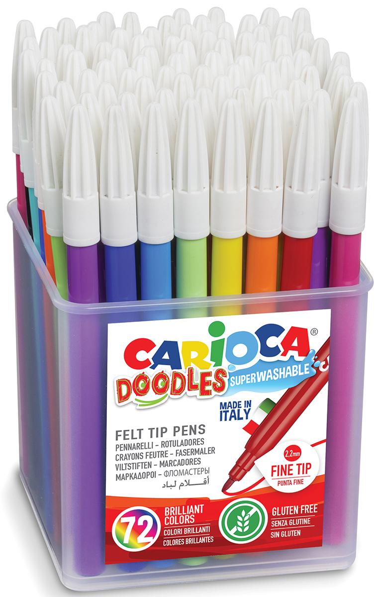 Carioca Набор фломастеров Doodles 72 цвета42261Набор Carioca Doodles состоит из 72 смываемых разноцветных фломастеров, которые отлично подойдут и для школьных занятий, и просто для рисования.Чернила на водной основе легко смываются с кожи и отстирываются с большинства тканей. Фломастеры рисуют яркими насыщенными цветами. Корпус фломастеров изготовлен из прочного материала, а колпачок имеет специальные прорези, что обеспечивает вентилирование и еще больше увеличивает срок службы чернил и предотвращает их преждевременное высыхание.