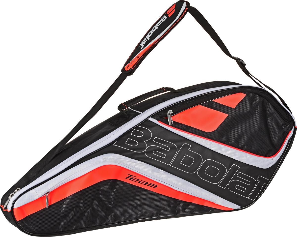 Чехол для теннисных ракеток Babolat  Team Line , на 3 ракетки, цвет: черный, оранжевый. белый - Теннис