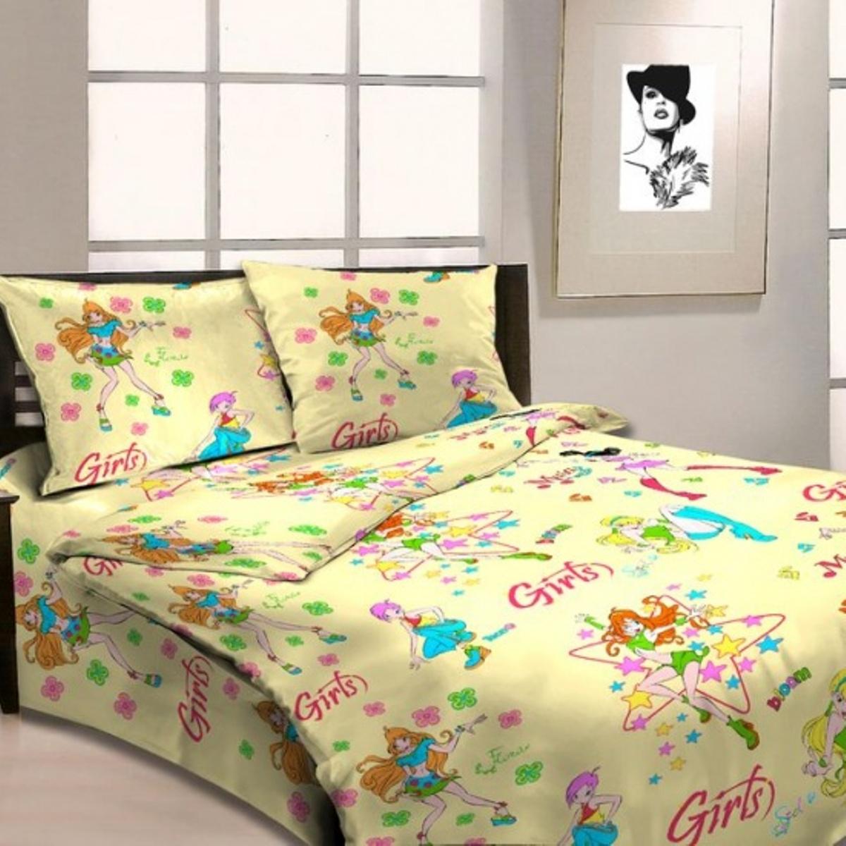 Комплект детского постельного белья Letto  Герлз , 1,5 спальный, наволочка 50 x 70 см, цвет: желтый -  Постельное белье