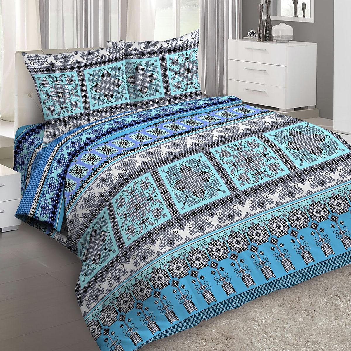Комплект белья Letto Традиция, евро, наволочки 70x70, цвет: синий. B199-6 комплект белья letto семейный наволочки 70х70 цвет голубой синий b183 7