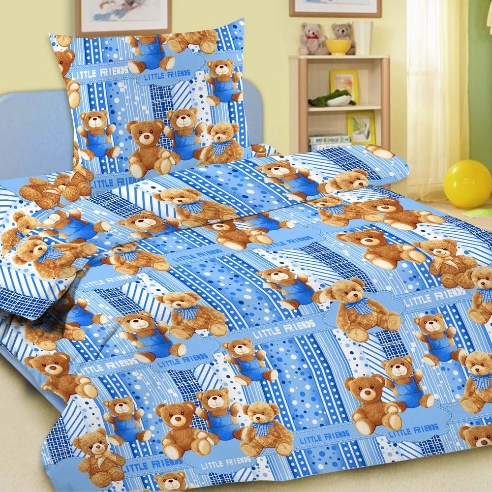 Комплект детского постельного белья Letto  Мишки , 1,5 спальный, наволочка 50 x 70 см, цвет: голубой -  Постельное белье