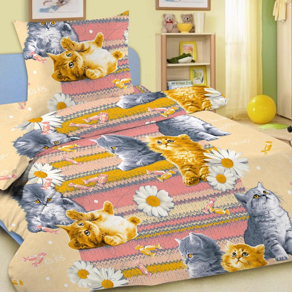 Комплект детского постельного белья Letto  Котята , 1,5 спальный, наволочка 50 x 70 см, цвет: разноцветный -  Постельное белье