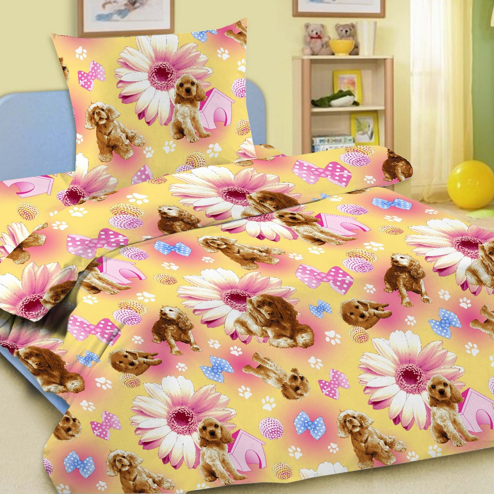 Комплект детского постельного белья Letto  Догги , 1,5 спальный, наволочка 50 x 70 см, цвет: розовый -  Постельное белье