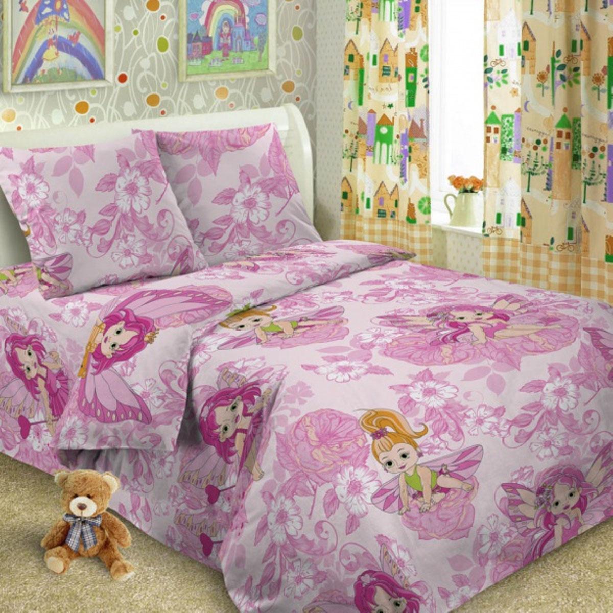 Комплект детского постельного белья Letto  Софи , 1,5 спальный, наволочка 50 x 70 см, цвет: фиолетовый -  Постельное белье
