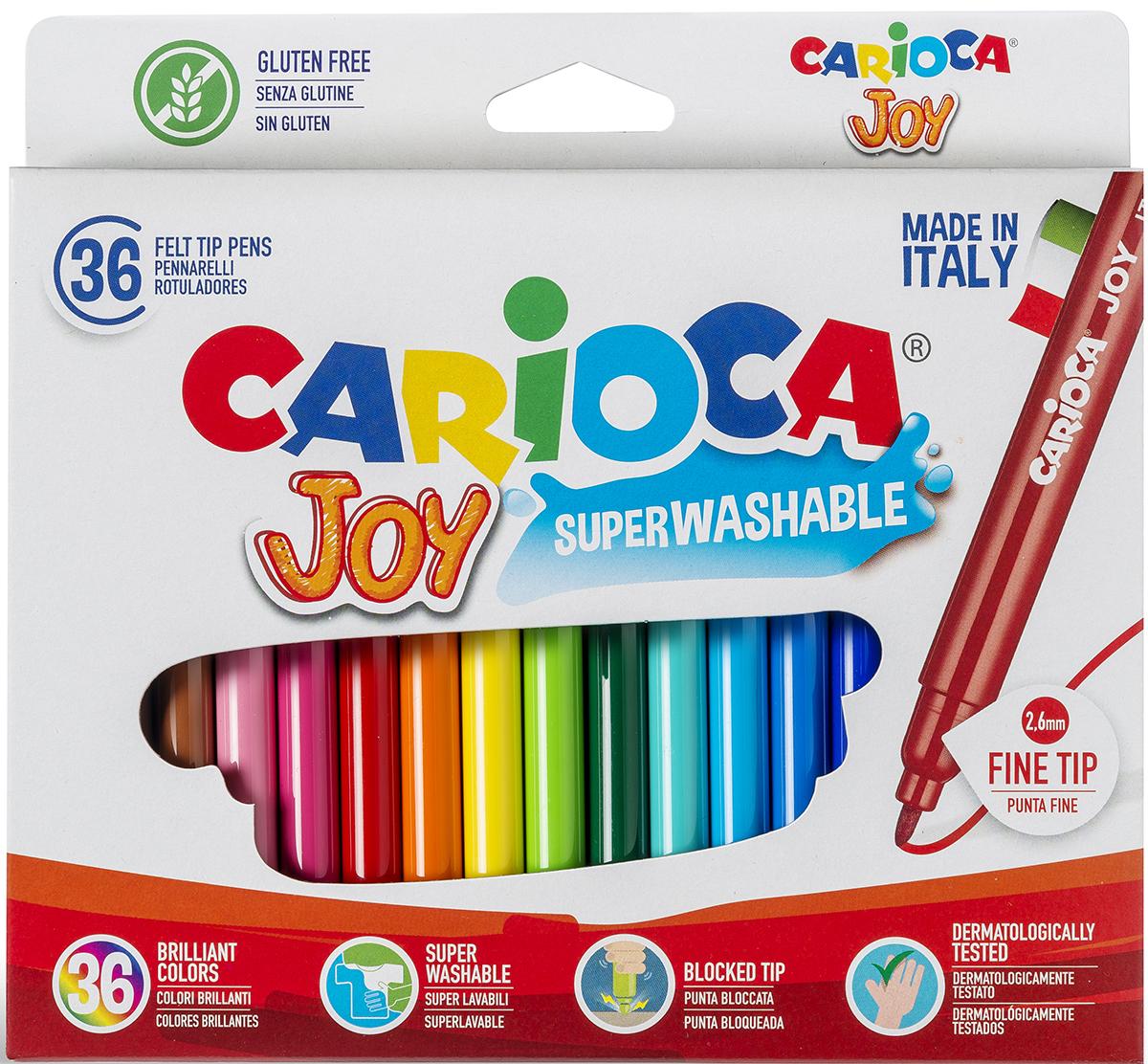 Набор фломастеров Carioca Joy, 36 цветов40616/36Набор Carioca Joy состоит из 36 разноцветных фломастеров, которые отлично подойдут и для школьных занятий, и просто для рисования.Фломастеры рисуют яркими насыщенными цветами. Чернила на водной основе легко смываются с кожи и отстирываются с большинства тканей. Корпус фломастеров изготовлен из полипропилена, а колпачок имеет специальные прорези, что обеспечивает вентилирование и еще больше увеличивает срок службы чернил и предотвращает их преждевременное высыхание.