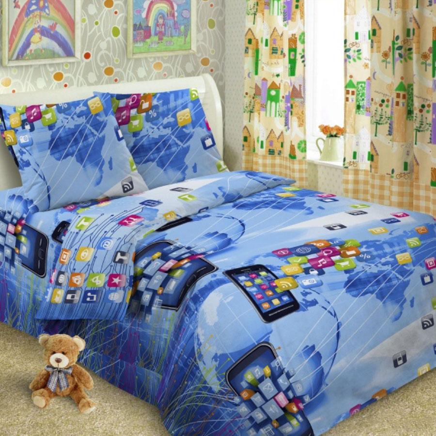 Комплект детского постельного белья Letto  Смартфон , 1,5 спальный, наволочка 50 x 70 см, цвет: синий -  Постельное белье