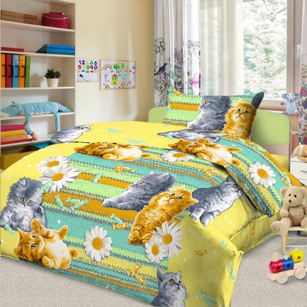 Комплект детского постельного белья Letto  Котята , 1,5 спальный, наволочка 50 x 70 см, цвет: зеленый -  Постельное белье
