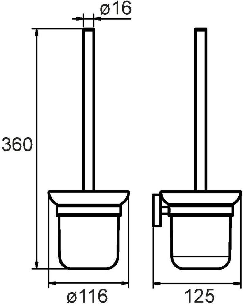 """Ершик туалетный """"Amur"""" выполнен из высококачественной латуни и матового стекла, имеет стойкое никель-хромовое покрытие, пластиковая проставка надежно фиксирует колбу дозатора в держателе. Крепеж в комплекте."""