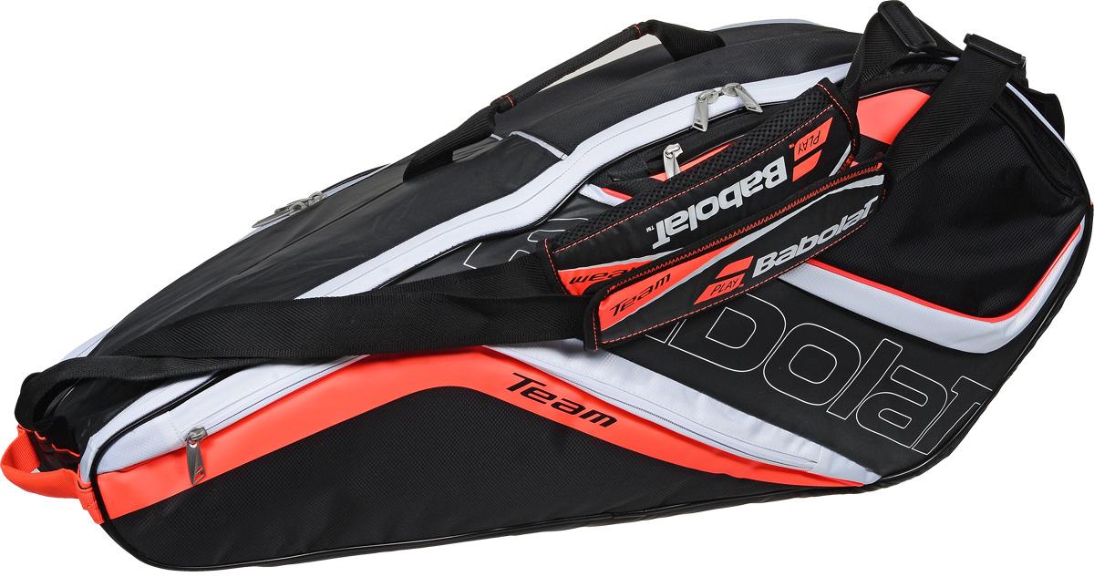 Чехол для теннисных ракеток Babolat  Team Line , на 6 ракеток, цвет: черный, оранжевый, белый - Теннис
