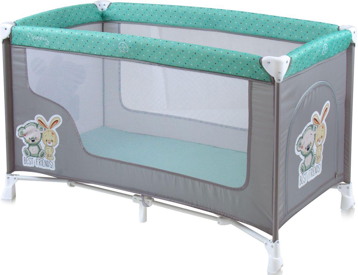 Lorelli Манеж-кроватка Nanny 1 цвет серый зеленый - Детская комната