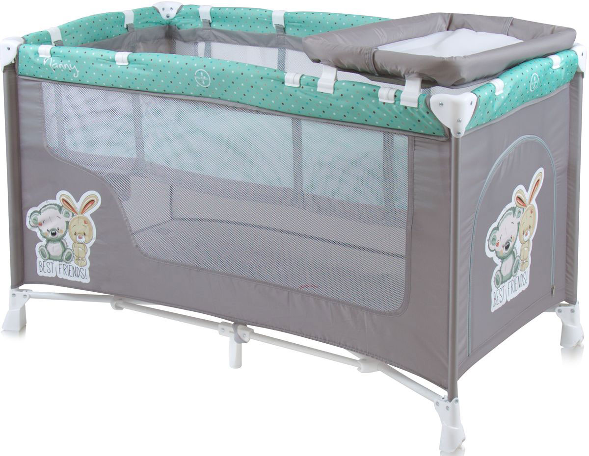 Lorelli Манеж-кроватка Nanny 2 цвет серый зеленый -  Детская комната
