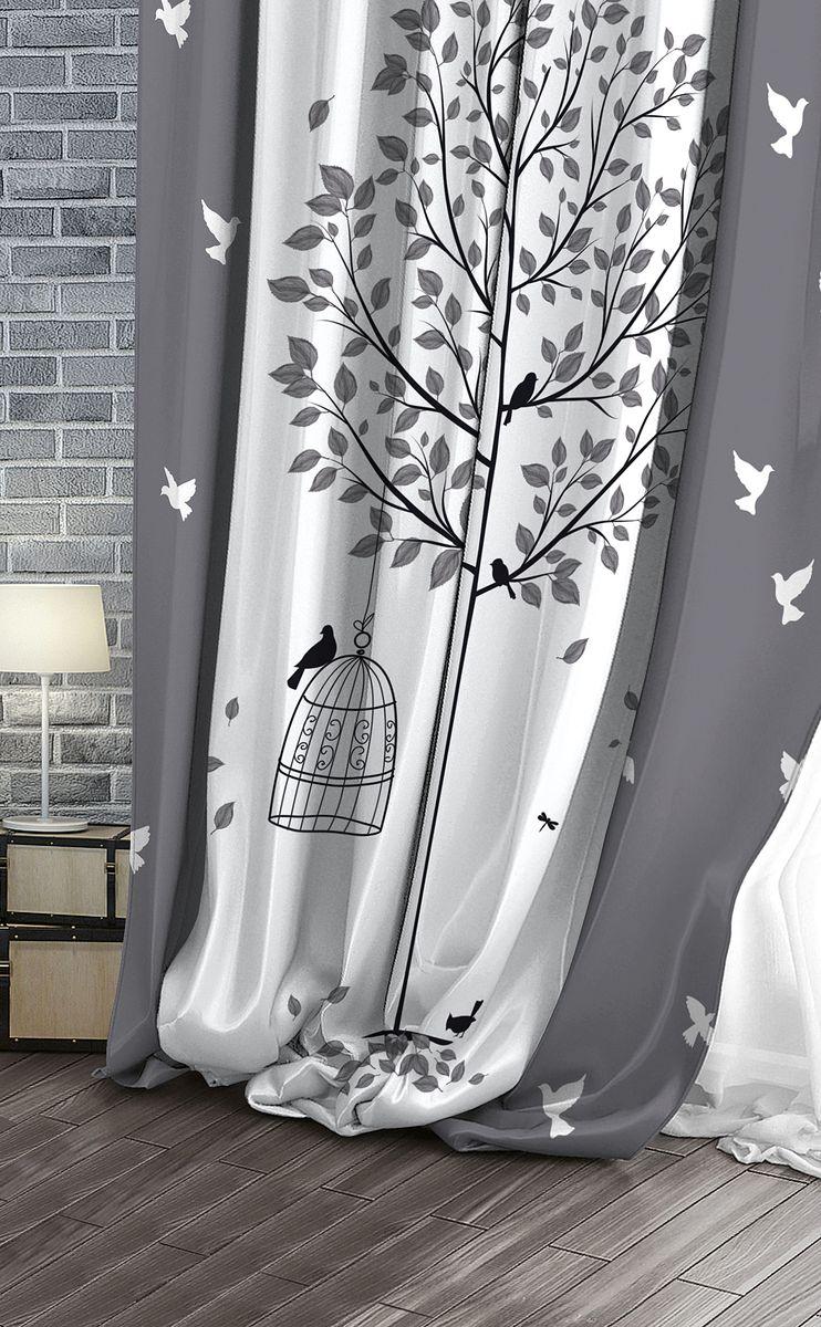 Штора Волшебная ночь Bird, на ленте, высота 270 см. 708305708305Шторы коллекции Волшебная ночь - это готовое решение для вашего интерьера, гарантирующее красоту, удобство и индивидуальный стиль! Штора изготовлена из приятной на ощупь ткани, которая плотно драпирует окно, но позволяет свету частично проникать внутрь. Длина шторы регулируется с помощью клеевой паутинки (в комплекте). Изделие крепится на вшитую шторную ленту: на крючки или путем продевания на карниз.