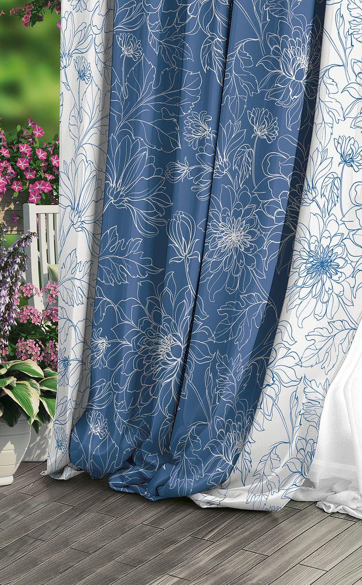 Штора Волшебная ночь Emma, на ленте, цвет: синий, белый, высота 270 см. 708329GST_0020Шторы коллекции Волшебная ночь - это готовое решение для интерьера, гарантирующеекрасоту, удобство и индивидуальный стиль!Штора изготовлена из приятной на ощупь ткани габардин, которая плотно драпирует окно, нопозволяет свету частично проникать внутрь. Длина шторы регулируется с помощью клеевойпаутинки (в комплекте). Изделие крепится на вшитую шторную ленту: на крючки или путемпродевания на карниз.