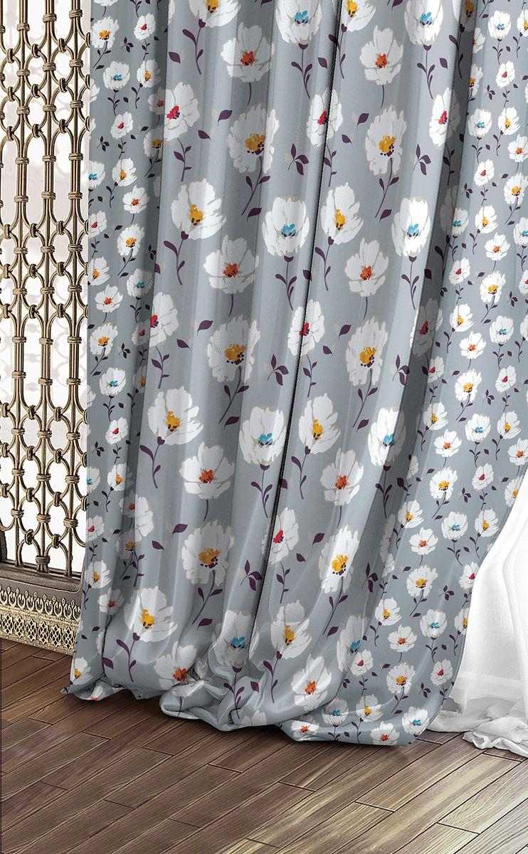 Штора Волшебная ночь Chamomile, на ленте, цвет: белый, светло-серый, высота 270 см. 708330708330Шторы коллекции Волшебная ночь - это готовое решение для интерьера, гарантирующее красоту, удобство и индивидуальный стиль! Штора изготовлена из приятной на ощупь ткани габардин, которая плотно драпирует окно, но позволяет свету частично проникать внутрь. Длина шторы регулируется с помощью клеевой паутинки (в комплекте). Изделие крепится на вшитую шторную ленту: на крючки или путем продевания на карниз.