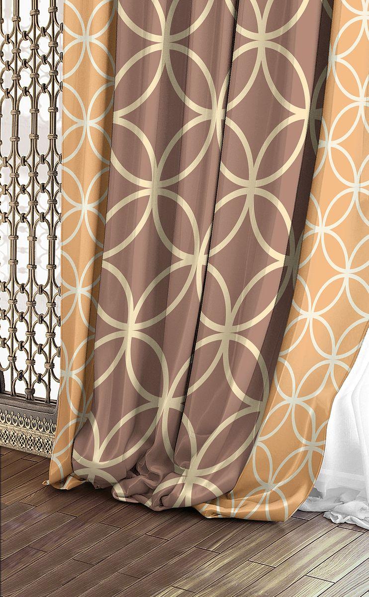 Штора Волшебная ночь Chocolate Mandarine, на ленте, цвет: светло-коричневый, золотой, высота 270 см. 708345708345Шторы коллекции Волшебная ночь - это готовое решение для интерьера, гарантирующее красоту, удобство и индивидуальный стиль! Штора изготовлена из приятной на ощупь ткани габардин, которая плотно драпирует окно, но позволяет свету частично проникать внутрь. Длина шторы регулируется с помощью клеевой паутинки (в комплекте). Изделие крепится на вшитую шторную ленту: на крючки или путем продевания на карниз.