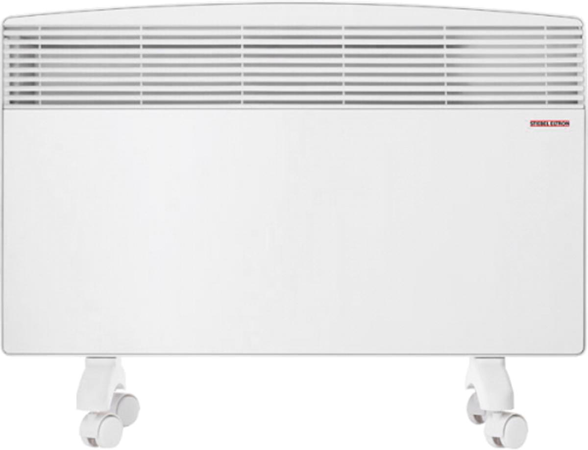 Stiebel Eltron CNS 150 F обогревательCNS 150 FЭлектрический конвектор прямого нагрева Stiebel Eltron CNS используется для создания комфортного климата в жилых помещениях, санузлах, ванных комнатах. Благодаря экономичности, безопасности и простоте в использовании он окажется незаменим там, где необходимо как основное, так и вспомогательное отопление. Модель CNS-F крепится на стене либо устанавливается на полу и удачно подходит для случая, когда тепло нужно срочно. Если конвекторустанавливается на полу, для этого предусмотрены ножки, которые также оснащены роликами, и несколько ручек. Принцип действия конвектора основан на перемещении естественным путем воздушных масс. Более тяжелый, холодный воздух попадает через входные решетки, расположенные в нижней части корпуса, внутрь прибора. Где проходя через ТЭН, нагревается до необходимой температуры, и за счет естественной тяги устремляется вверх, проходя через верхние жалюзи. По мере остывания, холодные массы оседают вниз и процесс повторяется. Отсутствие вентиляторов делает работу обогревателя полностью бесшумным и исключает возможность появления сквозняков. Прибор выполнен в современном дизайне, компактная плоская конструкция позволяет осуществлять настенный монтаж, не нарушая существующего интерьера помещений. Нагревательный элемент, установленный в конвекторе - стальной, теплообменник выполнен из алюминия. Эффективность работы прибора, характеризуемая значением КПД, составляет 98 процентов, что является одним из лучших показателей среди отопительного оборудования. Как выбрать обогреватель. Статья OZON Гид