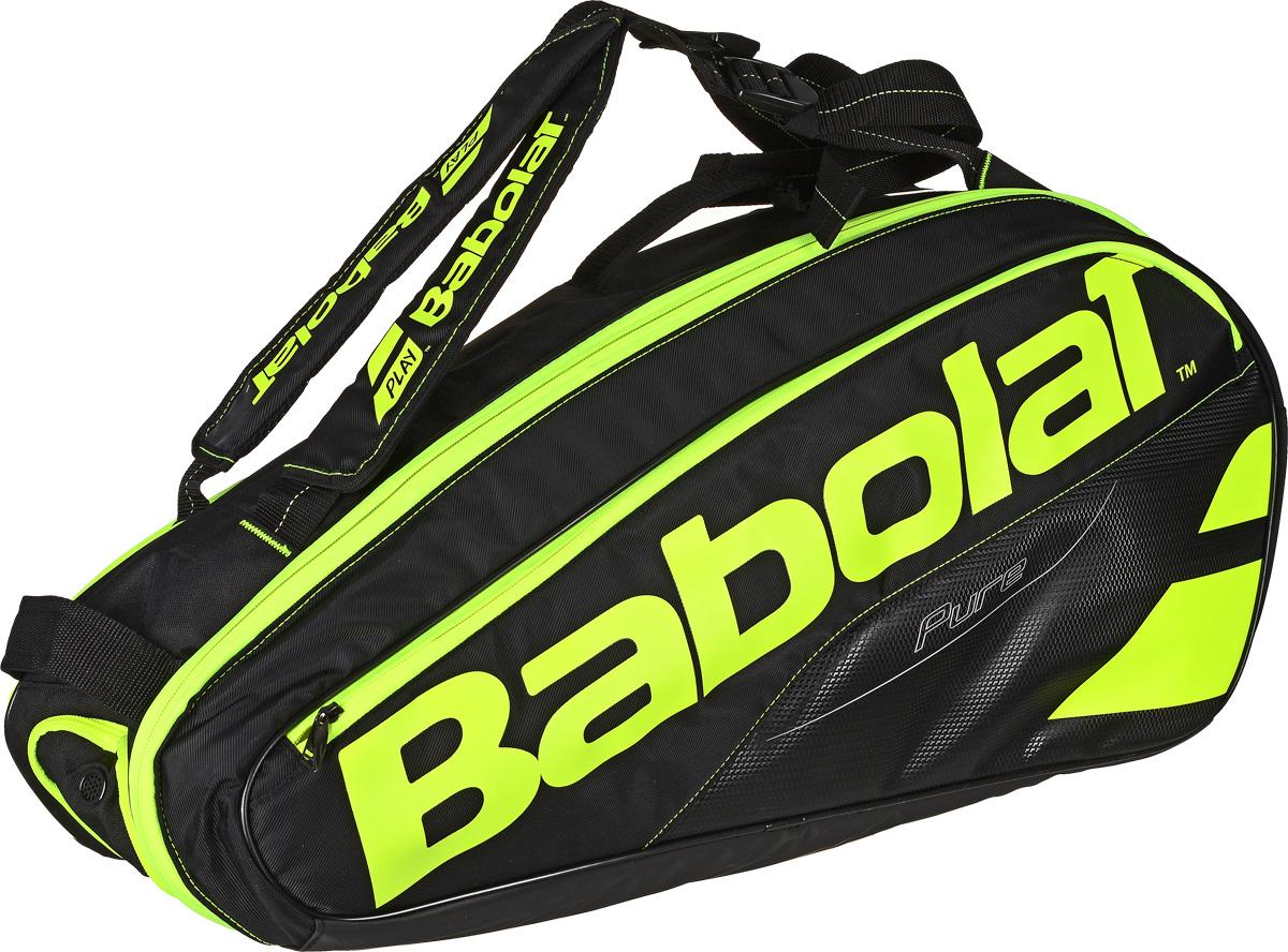 Чехол для теннисных ракеток Babolat  Pure , на 6 ракеток, цвет: желтый, черный - Теннис