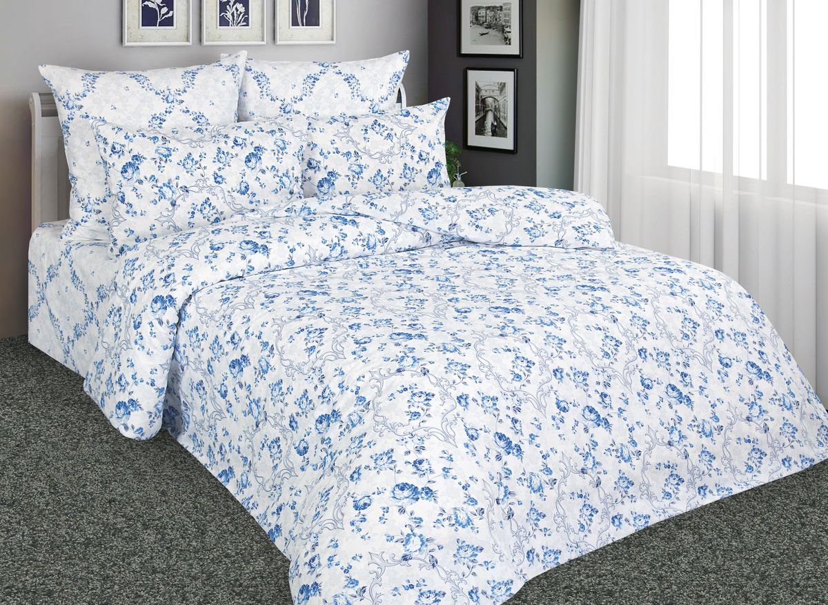 Комплект белья Amore Mio Гжель, 1,5-спальный, наволочки 70x70, цвет: белый, синий, голубой. 88529
