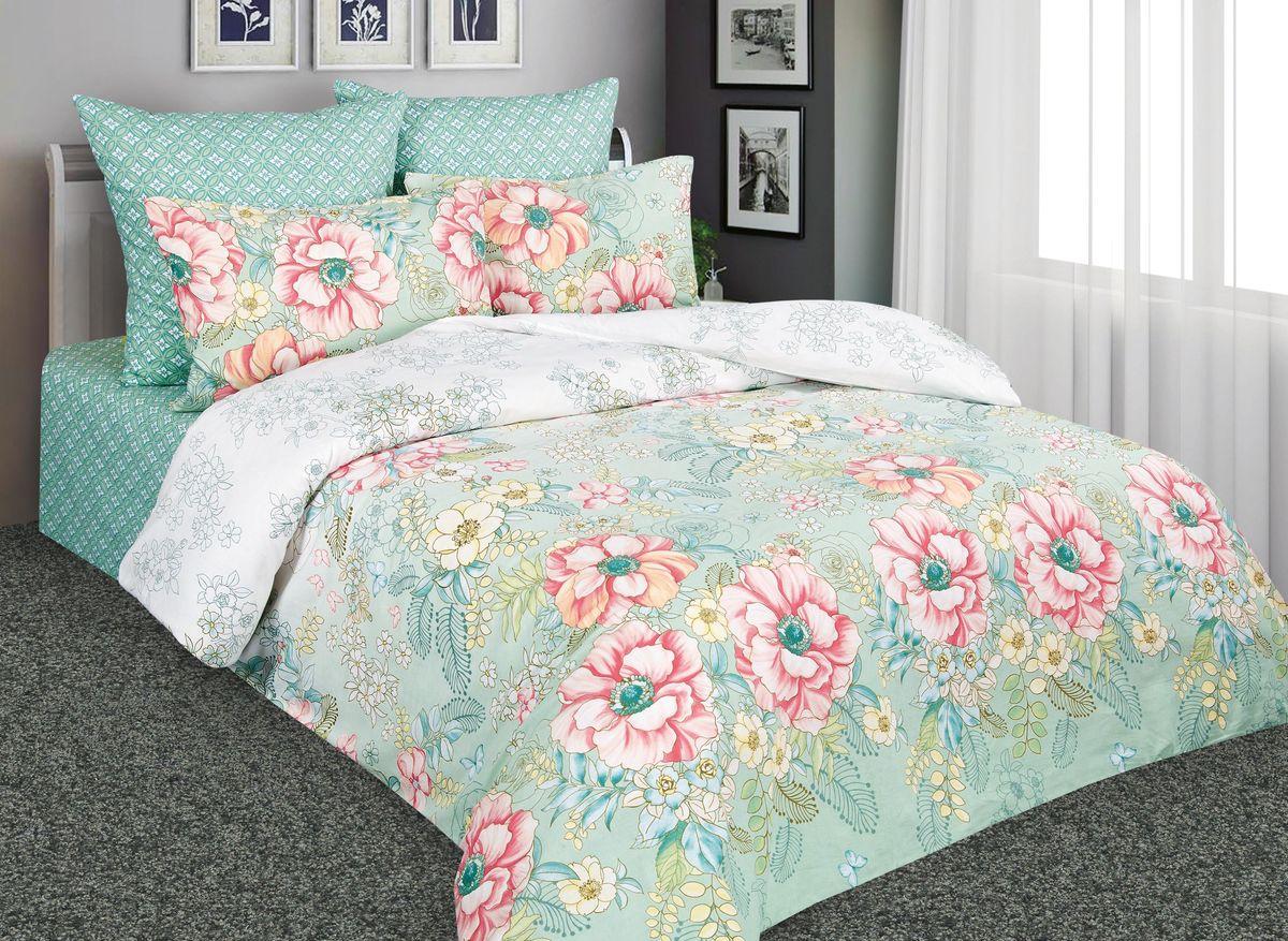 Комплект белья Amore Mio Дивный сад, 2-спальный, наволочки 70x70, цвет: зеленый, розовый. 88533