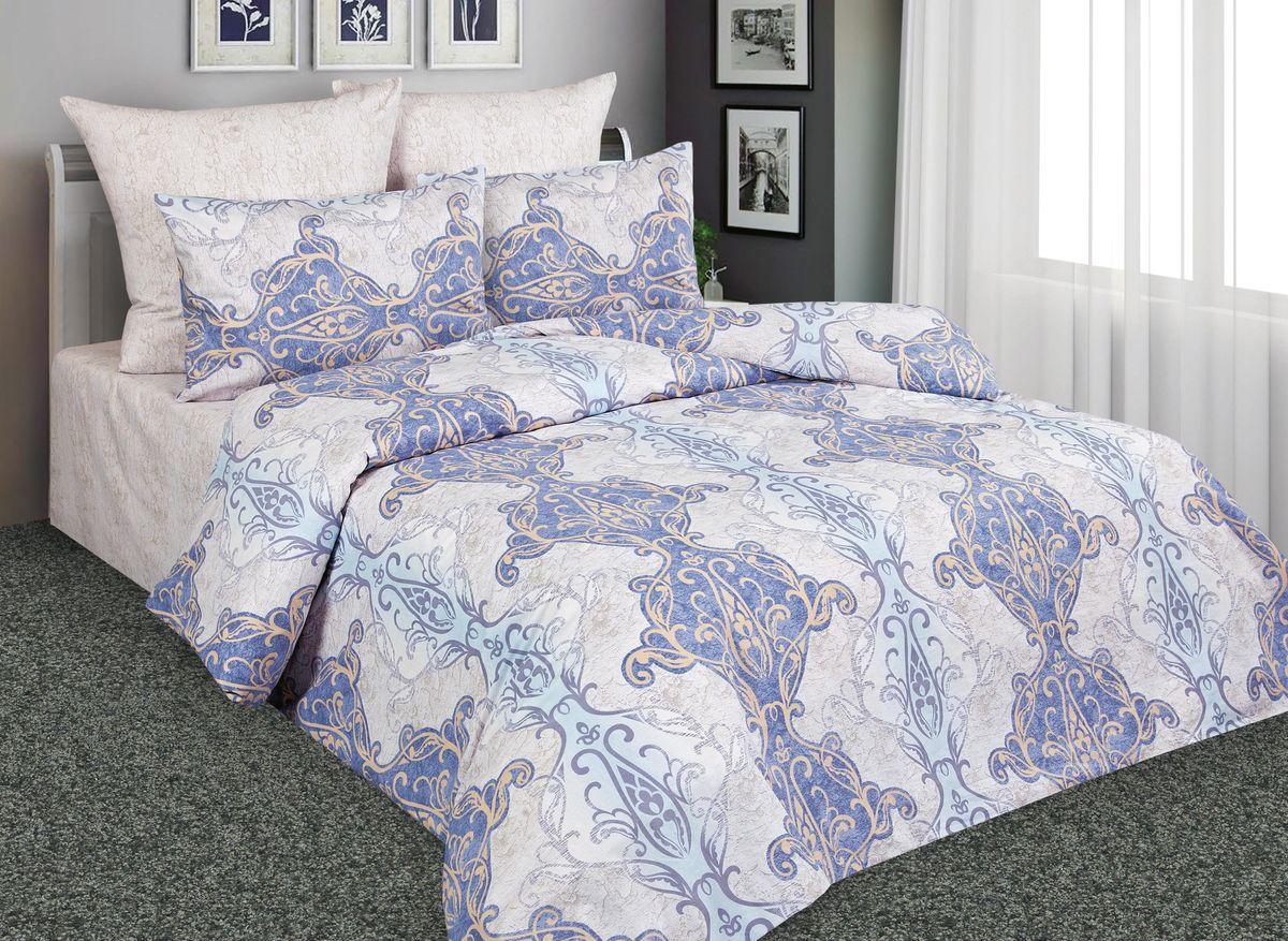 Комплект белья Amore Mio Антик, 2-спальный, наволочки 70x70, цвет: голубой, бежевый. 88536