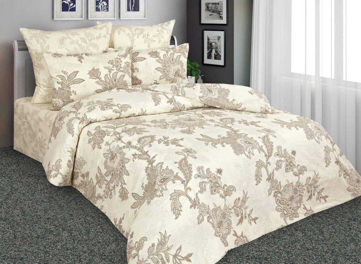 Комплект белья Amore Mio Нежность, 2-спальный, наволочки 70x70, цвет: кремовый, коричневый. 8854288542Постельное белье Amore Mio из перкали - эксклюзивные дизайны, разработанные европейскими дизайнерами, воплощенные на плотной легкой ткани из 100% хлопка.