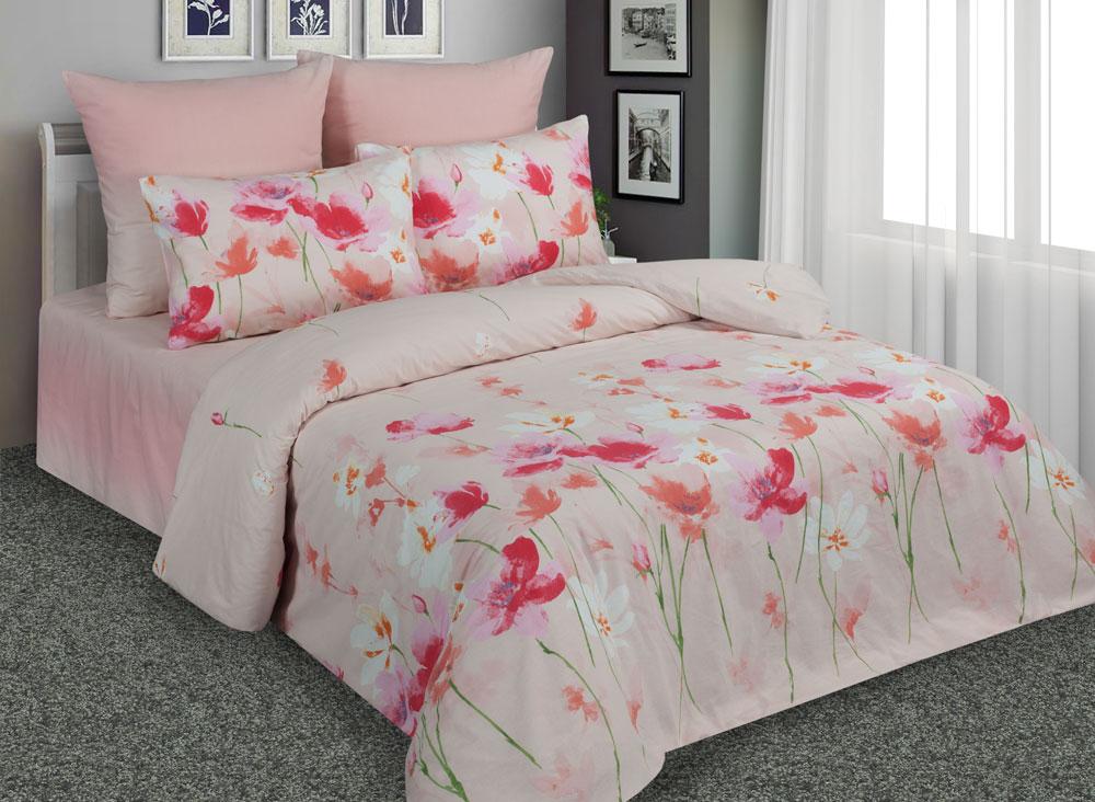 Комплект белья Amore Mio Маки, 1,5-спальный, наволочки 70x70, цвет: розовый. 89209