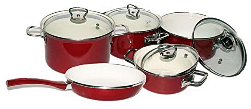 Набор посуды Belis Эко керамика, 5 предметов19460-088DB9N1Набор кастрюль Эко керамика,т.м. BELIS (4 ед. + сковородка): 1 кастрюля 18 см(2,2л), 1 кастрюля 24 см(5л), 1 низкая кастрюля 16 см (1,2 л), 1 низкая кастрюля 20 см (2л), 1 cковородкаТолщина металла: 1,2 мм. Наружная эмаль: красная; внутренняя поверхность:Symbio (cочетание эмали и керамики, разработано специалистами компании Belis а.s.)Внутренняя поверхность изделий выполнена по специальной формуле Symbio - сочетание эмали и керамики, что дарит этому набору определенные преимущества, а именно: легкость в очищении, равномерное распределение тепла, энергоэффективность, абсолютная безвредность и устойчивость к механическим повреждениям. Подходит для всех видов кухонных плит. Внутрення поверхность сковородки не является антипригарной.