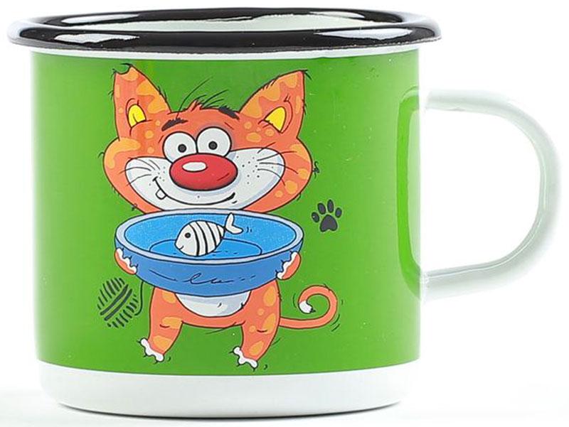 Кружка эмалированная Belis Кошка, 370 мл11108-039DR504Кружка Кошка толщина металла: 0,8 мм. Внешняя поверхность: белая эмаль+деколь, внутренняя поверхность: белая эмаль