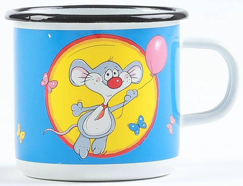 Кружка эмалированная Belis Мышь, 370 мл11108-039DR604Кружка Мышь толщина металла: 0,8 мм. Внешняя поверхность: белая эмаль+деколь, внутрення поверхность: белая эмаль