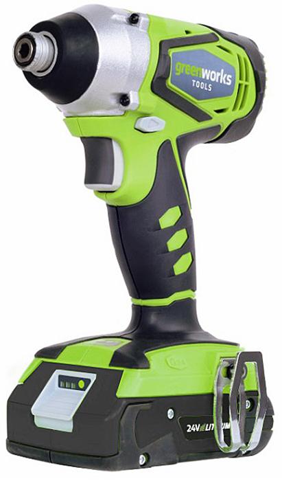 Шуруповерт ударный аккумуляторный Greenworks 24V G-MAX, без аккумулятора и зарядного устройства 38013073801307Шуруповерт ударный аккумуляторный Greenworks 24В G-MAX предназначен для закручивания крепежных элементов. Шуруповерт без аккумулятора и зарядного устройства.Особенности: - Импульсный механизм. - Максимальный крутящий момент 282 Н*м. - Бесключевой патрон 6,35 мм (1/4) с шестигранным хвостовиком. - Управление частотой вращения, направлением вращения и тормоз. - LED подсветка.- Работает с аккумуляторами Greenworks G24 (арт. 2902707, 2902807) и зарядным устройством G24С (арт. 2903607). Гарантия 2 года.