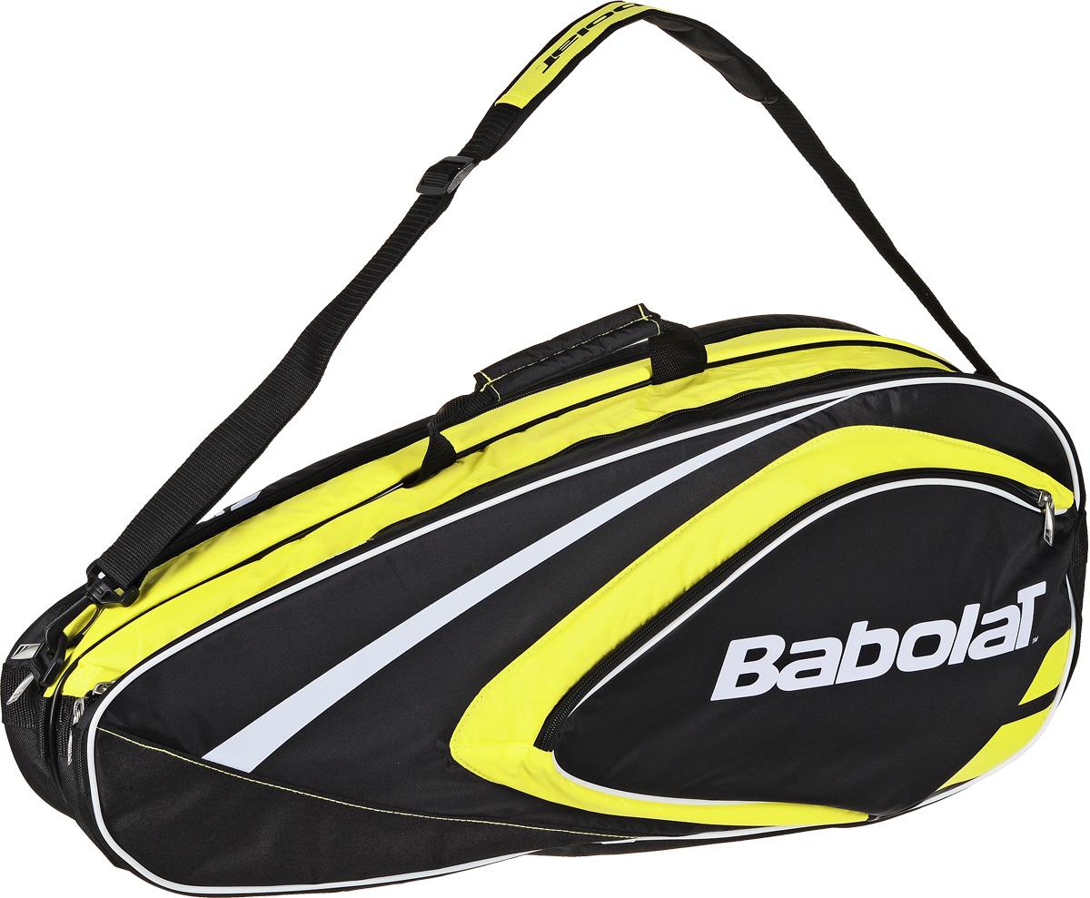 Чехол для теннисных ракеток Babolat  Club , на 6 ракеток, цвет: черный, желтый - Теннис