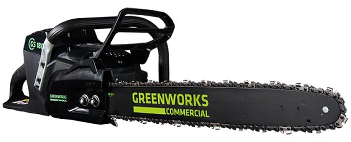 Цепная пила аккумуляторная Greenworks 82V, 45 см, бесщеточная 20016072001607Цепная пила аккумуляторная Greenworks - это профессиональная модель для ведения лесного хозяйства. Пила оснащена бесщёточным мотором DigiPro. Особенности: - Бесщеточный мотор DigiPro. - 2 цепи, включая цепь с низким профилем. - Мощность эквивалентна 45 см3 бензиновому двигателю. - Автосмазка шины и цепи. - Автоматический тормоз. - Уникальная сверхмощная аккумуляторная система 82V PRO. - Шины 40 и 46 см. - Шина и цепь Oregon. - Автосмазка шины и цепи. - Безинструментальное натяжение цепи. - Автоматический тормоз. - Работает с аккумуляторами Greenworks 82V PRO (арт. 2907202 2,5А*ч и 2907502 5А*ч) и зарядным устройством 82В (арт. 2907302).