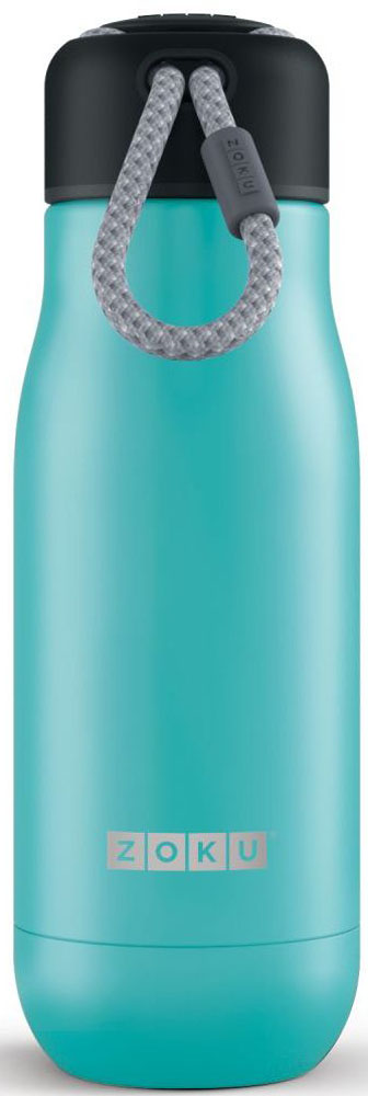 Термос Zoku Hydration, цвет: бирюзовый, 350 млZK141-TLДвойные вакуумные стенкиВакуум и толстые стенки из нержавеющей стали поддерживают температуру горячих напитков до 10, а холодных – до 30 часов, поэтому любимые напитки всегда будут доступны в течение дня. При этом бутылку можно спокойно держать в руках без риска обжечься. Гигиеничное горлышкоУзкое горлышко создано специально для питья, вам не потребуются дополнительные стаканы или емкости. Гладкая полированная поверхность легко очищается за считанные секунды и не накапливает на себе бактерии и грязь благодаря тому, что резьба для крышки спрятана внутри. Даже если вы находитесь на активном отдыхе или занимаетесь спортом, ваша бутылка всегда остается чистой и гигиеничной.Паракорд для переноскиШнур на крышке бутылки называется «паракордом» и позволяет вам брать её с собой, куда бы вы ни направлялись: держите её в руках, несите за ремешок или же прикрепите к снаряжению. Шнур легко вынимается при необходимости, просто потяните защитную крышку вверх. Нержавеющая сталь Высокое качество нержавеющей стали 18/8 делает термобутылку особенно прочной: она устойчива к коррозии, не разрушается и не впитывает запахи. Бутылка будет служить долго и не потребует замены деталей. Используемая сталь полностью пригодна для пищевых продуктов, не содержит фталатов и бисфенола-А. Открывается одним движениемЧтобы закрутить или открутить крышку, достаточно всего одного оборота, что очень удобно, если вы на ходу или за рулем. Крышка с силиконовой вставкой полностью герметична, поэтому бутылку можно смело убрать в рюкзак, чемодан или сумку, не боясь, что ее содержимое прольется.Стильный дизайнПривлекательный внешний вид, яркие цвета и качественные материалы делают эту термобутылку идеальным компаньоном для активных и следящих за своим здоровьем людей. Она подчеркнет ваш имидж и добавит ему ярких акцентов. Берите её с собой на прогулки, в спортзал и в любое путешествие, не боясь, что ваши напитки его не выдержат.Объем термобутылки – 350 мл. Мо