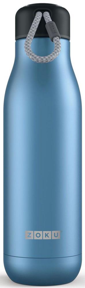 Термос Zoku Hydration, цвет: синий, 750 млZK143-BLВакуум и толстые стенки из нержавеющей стали поддерживают температуру горячих напитков до 15, а холодных - до 70 часов. При этом бутылку можно спокойно держать в руках без риска обжечься. Узкое горлышко создано специально для питья, вам не потребуются дополнительные стаканы или емкости. Гладкая полированная поверхность легко очищается за считанные секунды и не накапливает на себе бактерии и грязь благодаря тому, что резьба для крышки спрятана внутри. Шнур на крышке бутылки называется «паракордом» и позволяет вам брать её с собой, куда бы вы ни направлялись: держите её в руках, несите за ремешок или же прикрепите к снаряжению. Шнур легко вынимается при необходимости, просто потяните защитную крышку вверх. Высокое качество нержавеющей стали 18/8 делает термобутылку особенно прочной. Бутылка будет служить долго и не потребует замены деталей. Крышка с силиконовой вставкой полностью герметична, поэтому бутылку можно смело убрать в рюкзак, чемодан или сумку, не боясь, что ее содержимое прольется. Привлекательный внешний вид, яркий цвет и качественные материалы делают эту термобутылку идеальным компаньоном для активных и следящих за своим здоровьем людей. Она подчеркнет ваш имидж и добавит ему ярких акцентов.
