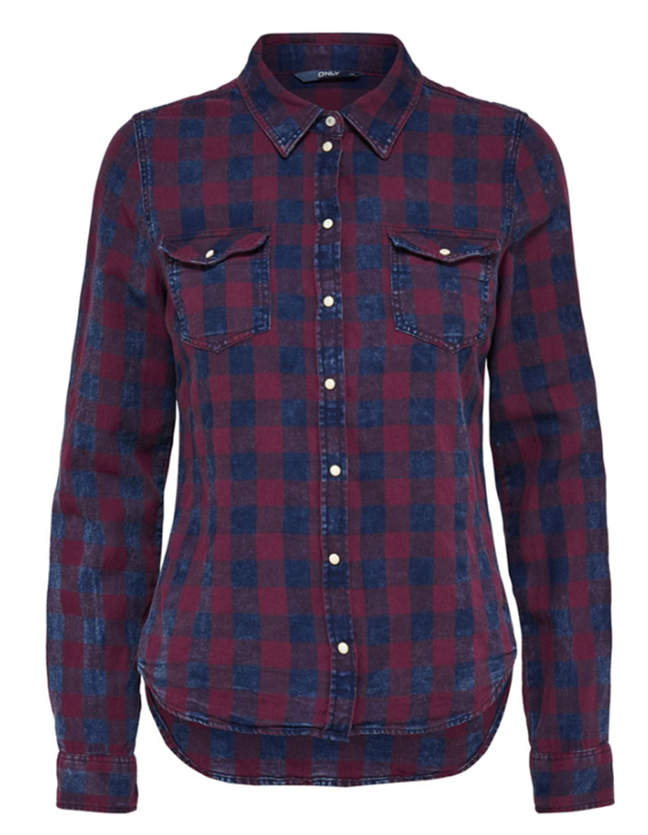 Рубашка жен Only, цвет: бордовый, темно-синий . 15138184_Dark Blue Denim. Размер 34 (40)15138184_Dark Blue Denim