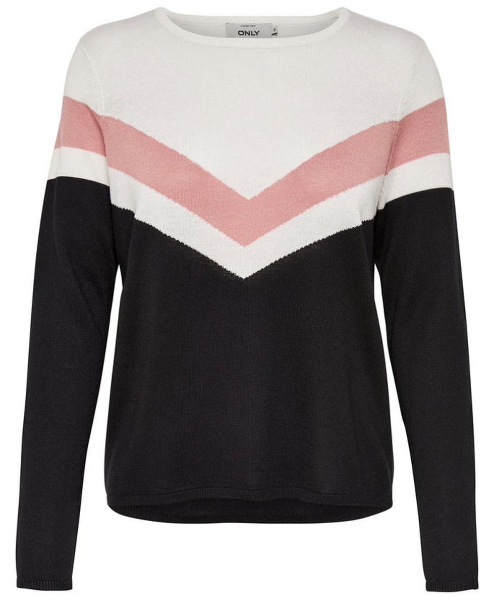 Пуловер женский Only, цвет: черный, бежевый, белый. 15139876_Cloud Dancer. Размер S (42/44)15139876Стильный женский пуловер Only разнообразит ваш повседневный гардероб. Модель прямого кроя с длинными рукавами выполнена из высококачественного трикотажа мелкой вязки с контрастной полоской. Круглый вырез горловины, манжеты рукавов и низ изделия связаны резинкой. Модель подойдет для прогулок и дружеских встреч и будет отлично сочетаться с джинсами и брюками, а также гармонично смотреться с юбками. Мягкая ткань на основе полиэстера и вискозы приятна на ощупь и комфортна в носке.