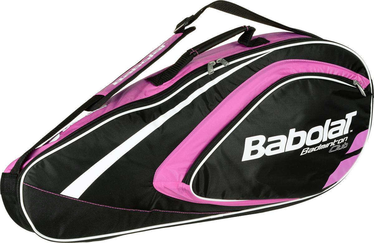Чехол Babolat  Club  на 4 бадминтонные ракетки, цвет: черный, розовый - Бадминтон