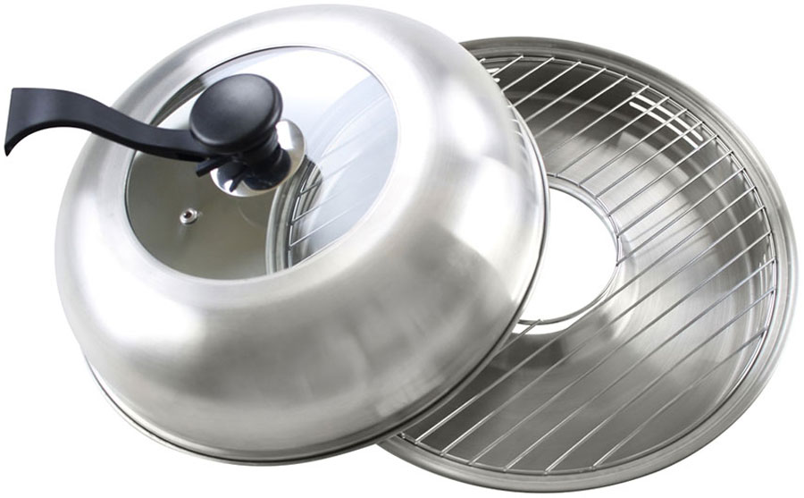 Сковорода Гриль-газ, с крышкой, со съемной ручкой. Диаметр 33 см. D-519D-519Сковорода Гриль-газ выполнена из высококачественной нержавеющей стали 304. Этот металл безопасен, при нагревании и контакте с пищей не выделяет никаких вредных веществ. Кроме того, нержавеющая сталь не подвергается коррозии, что позволяет продлить срок эксплуатации. Для усиления антипригарных свойств и удобства использования, гриль покрыт прозрачным антипригарным покрытием. Покрытие выдерживает нагрев до 400 °С. Абсолютно безопасно для здоровья человека. Обладает высокой устойчивостью к истиранию. Для удобства приготовления крышка оснащена стеклянной вставкой из жаропрочного стекла.Диаметр сковороды: 33 см.